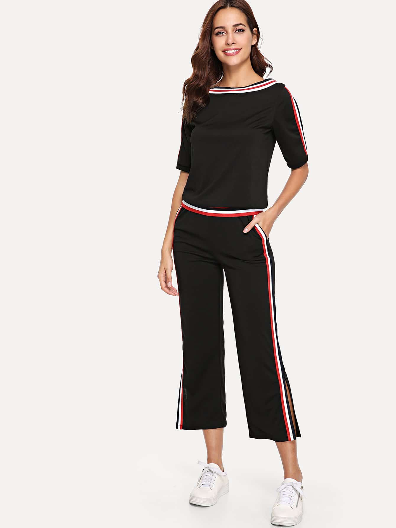 Stripe Contrast Top & Split Side Pants