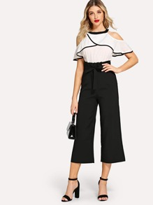 Contrast Binding Open Shoulder Top & Wide Leg Pants