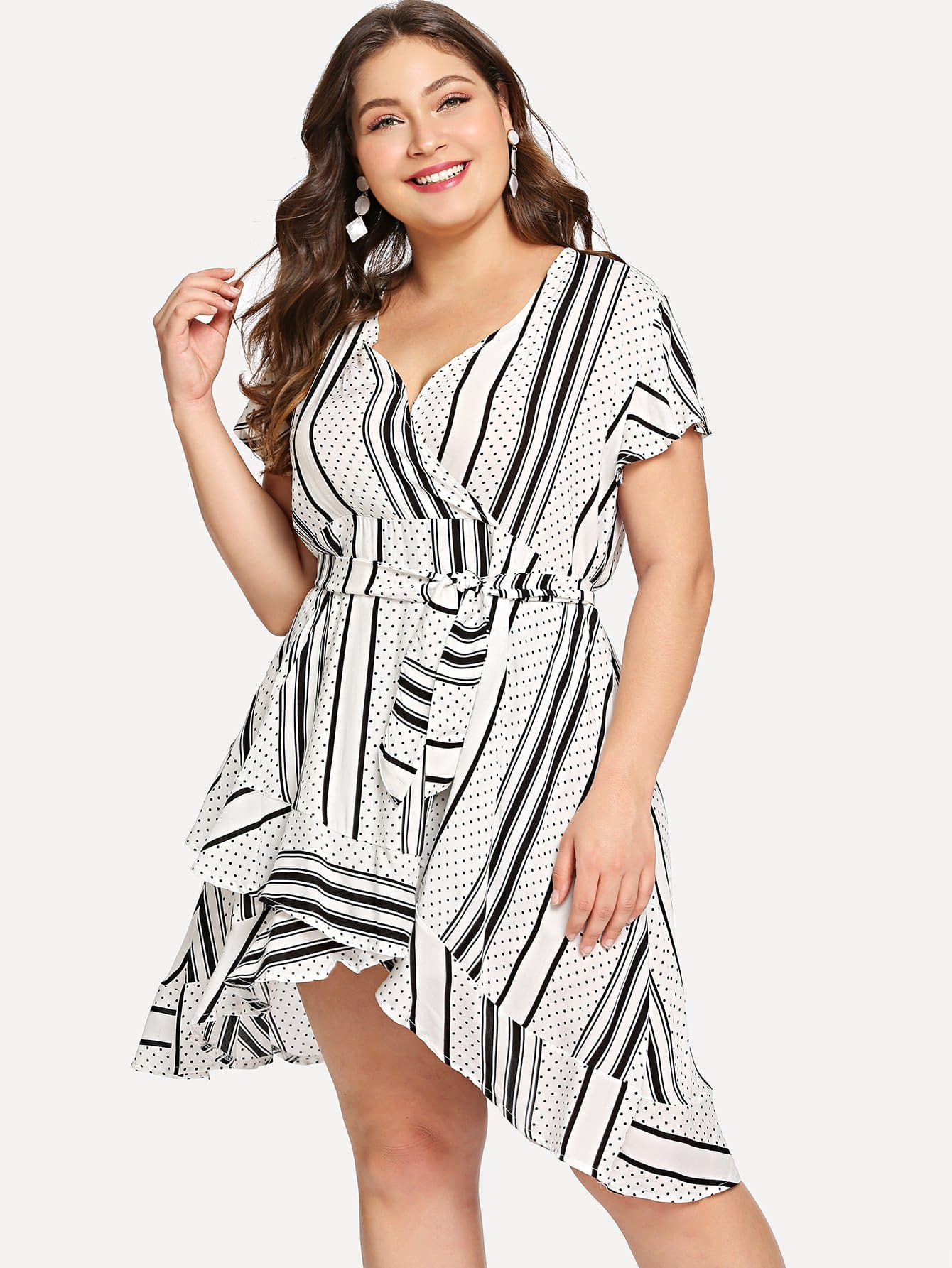 Plus Ruffle Trim Asymmetrical Hem Overlap Dress