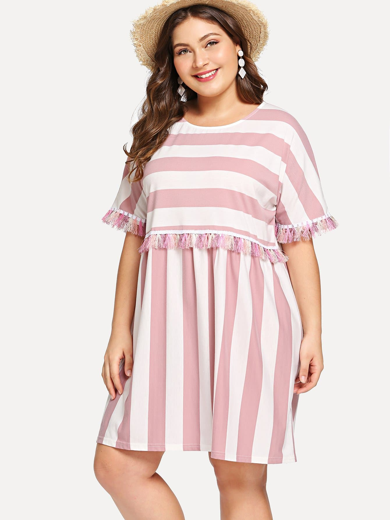 Plus Tassel Trim Wide-Striped Dress