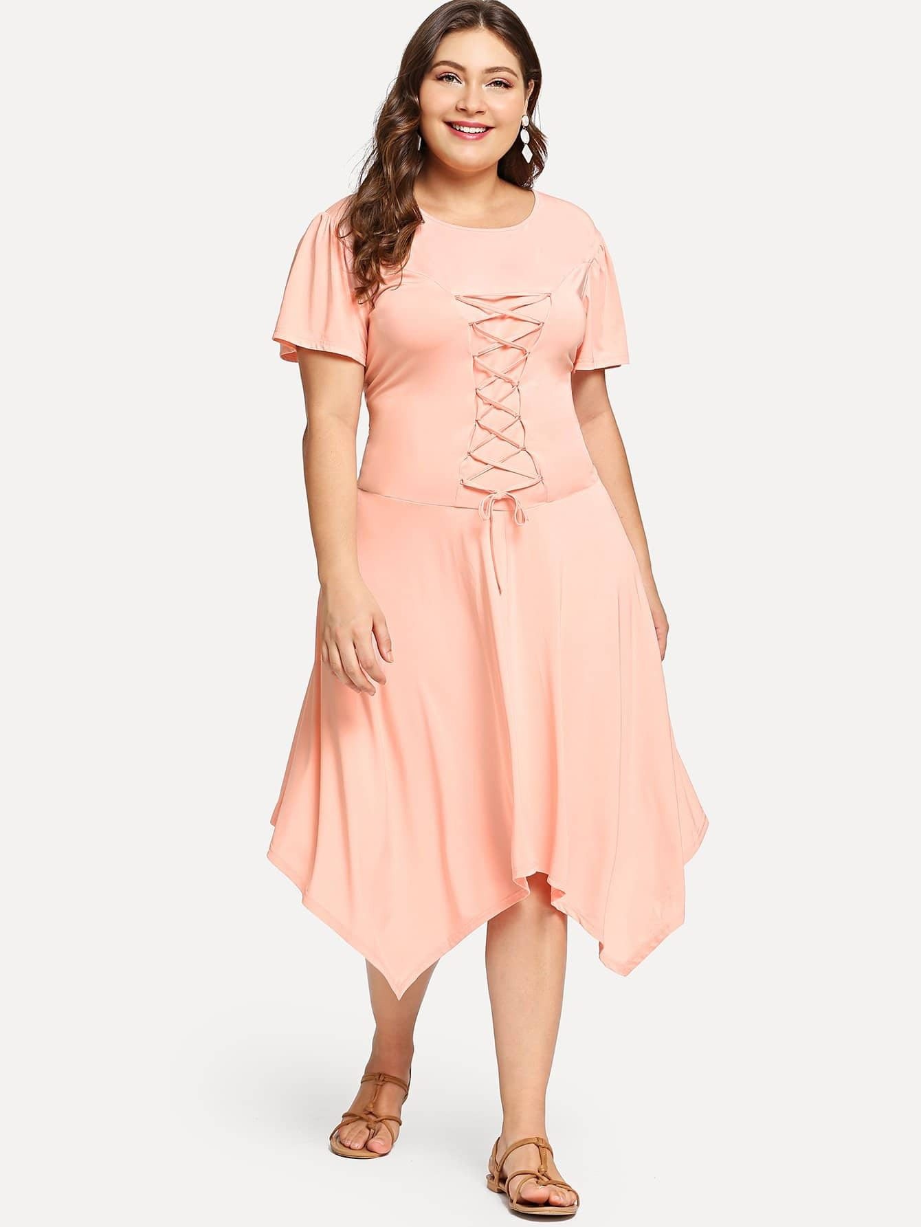 цена Plus Lace Up Hanky Hem Dress