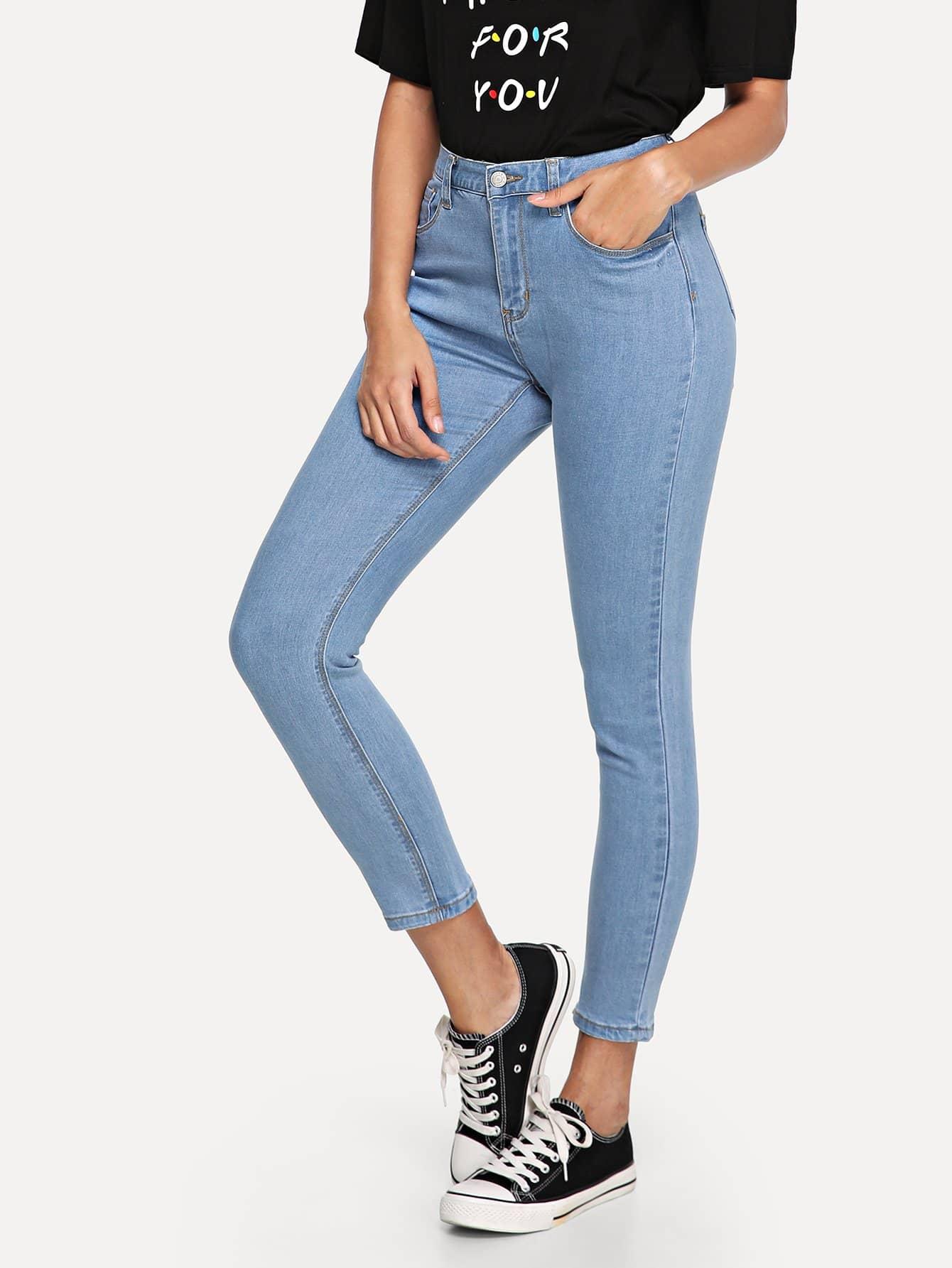 Купить Обрезанные тощие джинсы, Giulia, SheIn