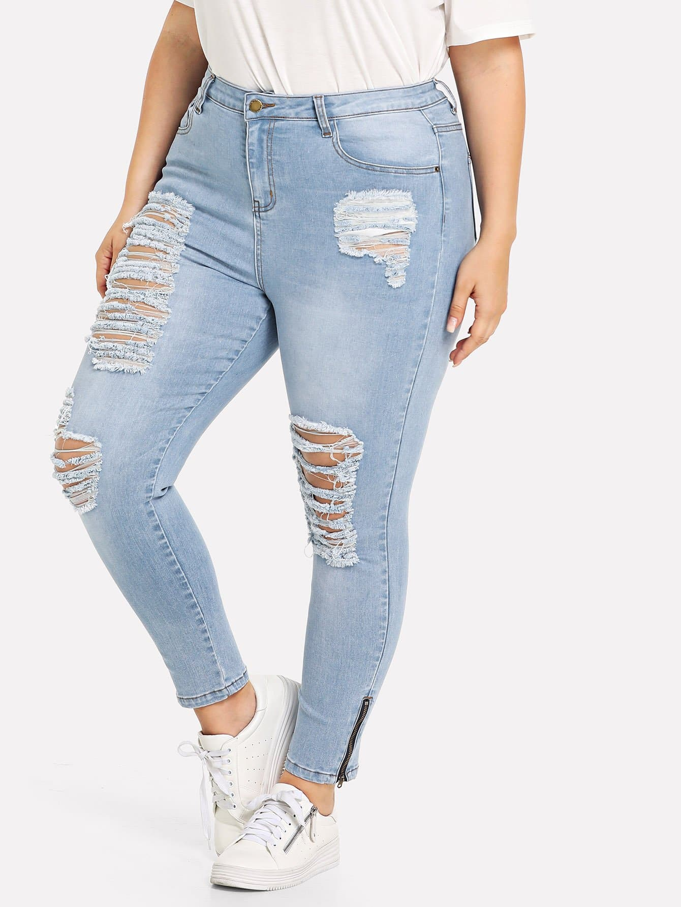 Plus Zip Hem Destroyed Jeans электросамокат ezip e 4 5