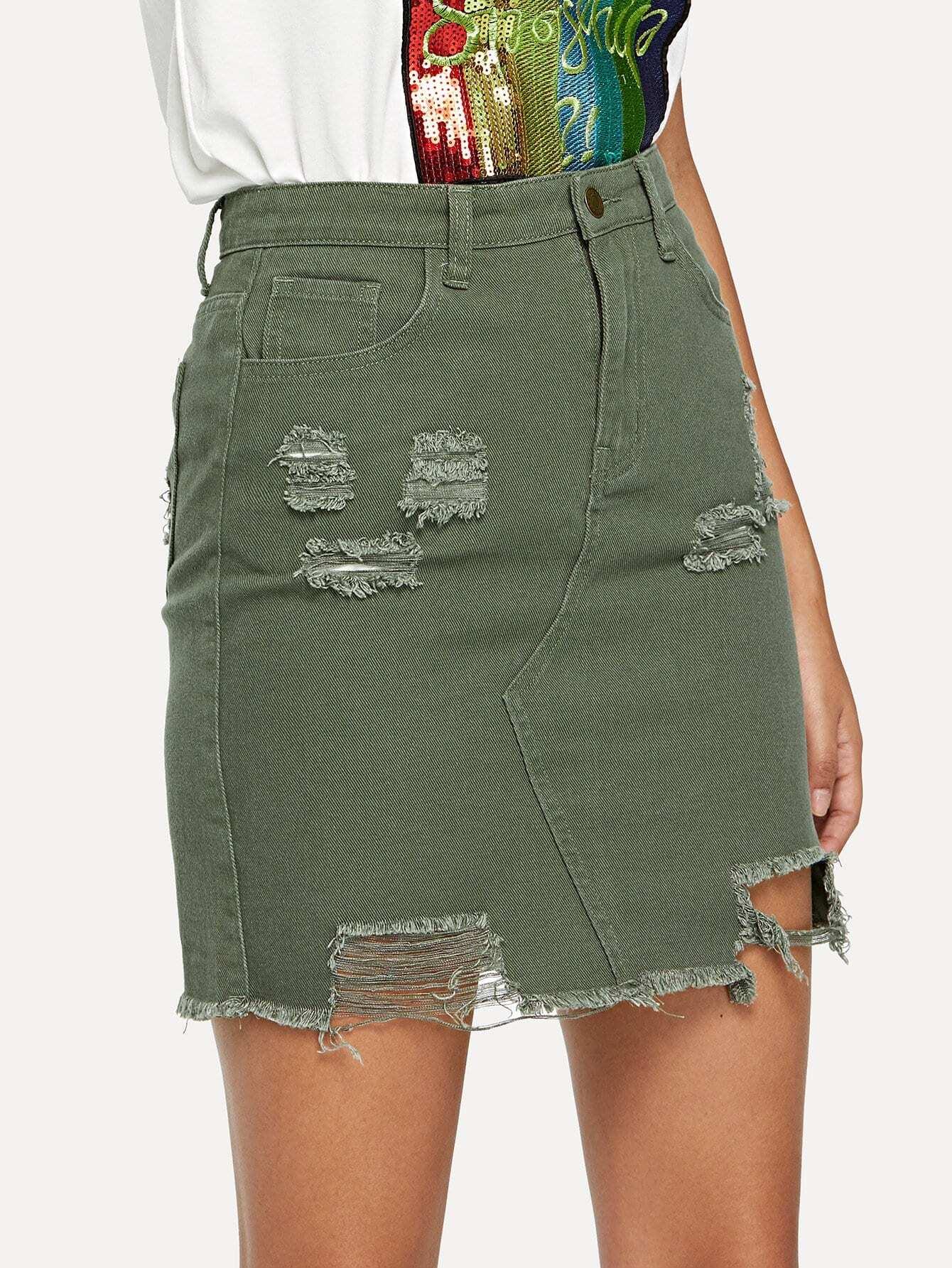 Купить Уничтоженная юбка из искусственной юбки, Starl Lane, SheIn