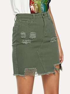 Ripped Raw Hem Denim Skirt