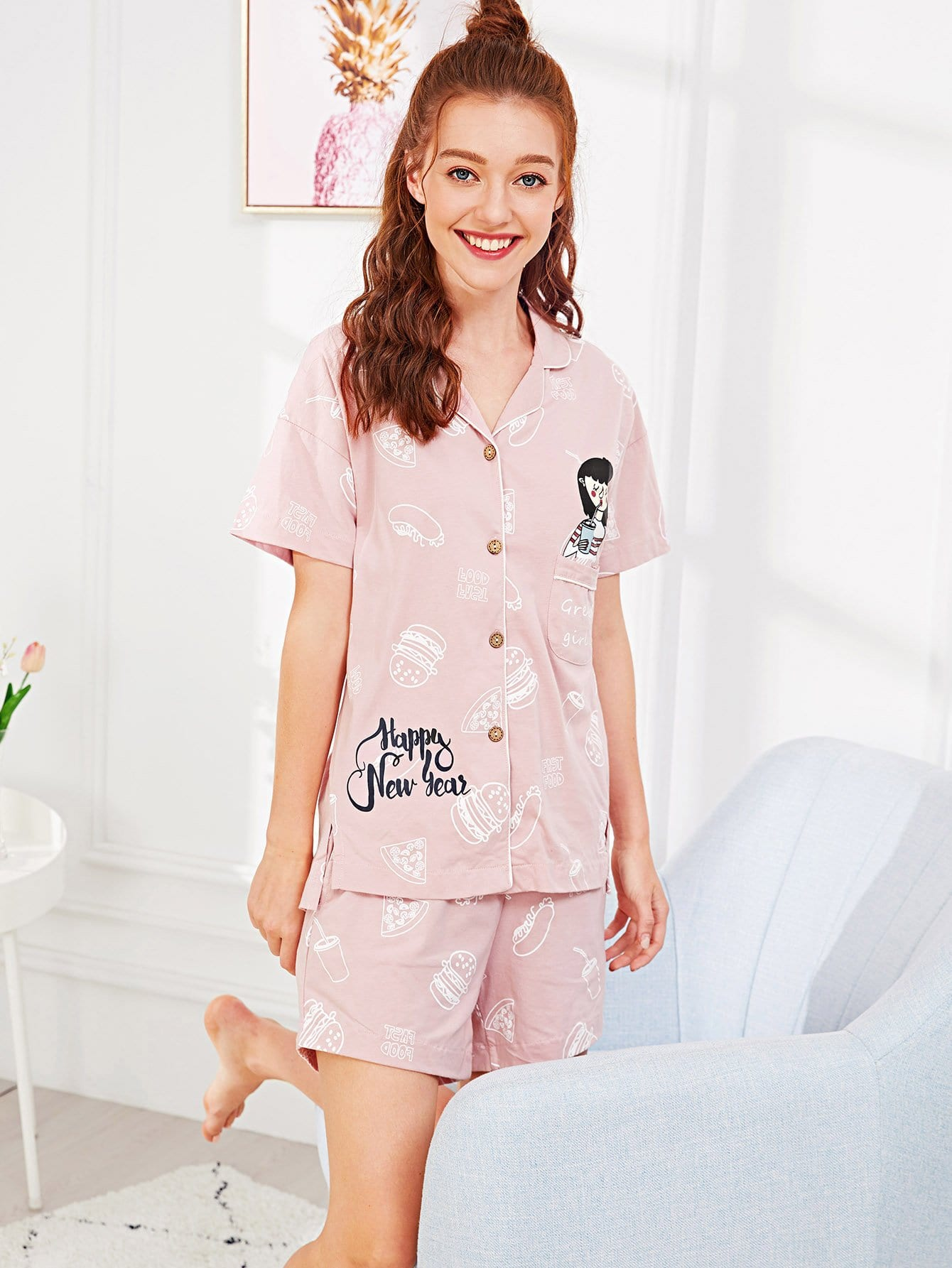 Cartoon & Letter Print Button Up Pajama Set