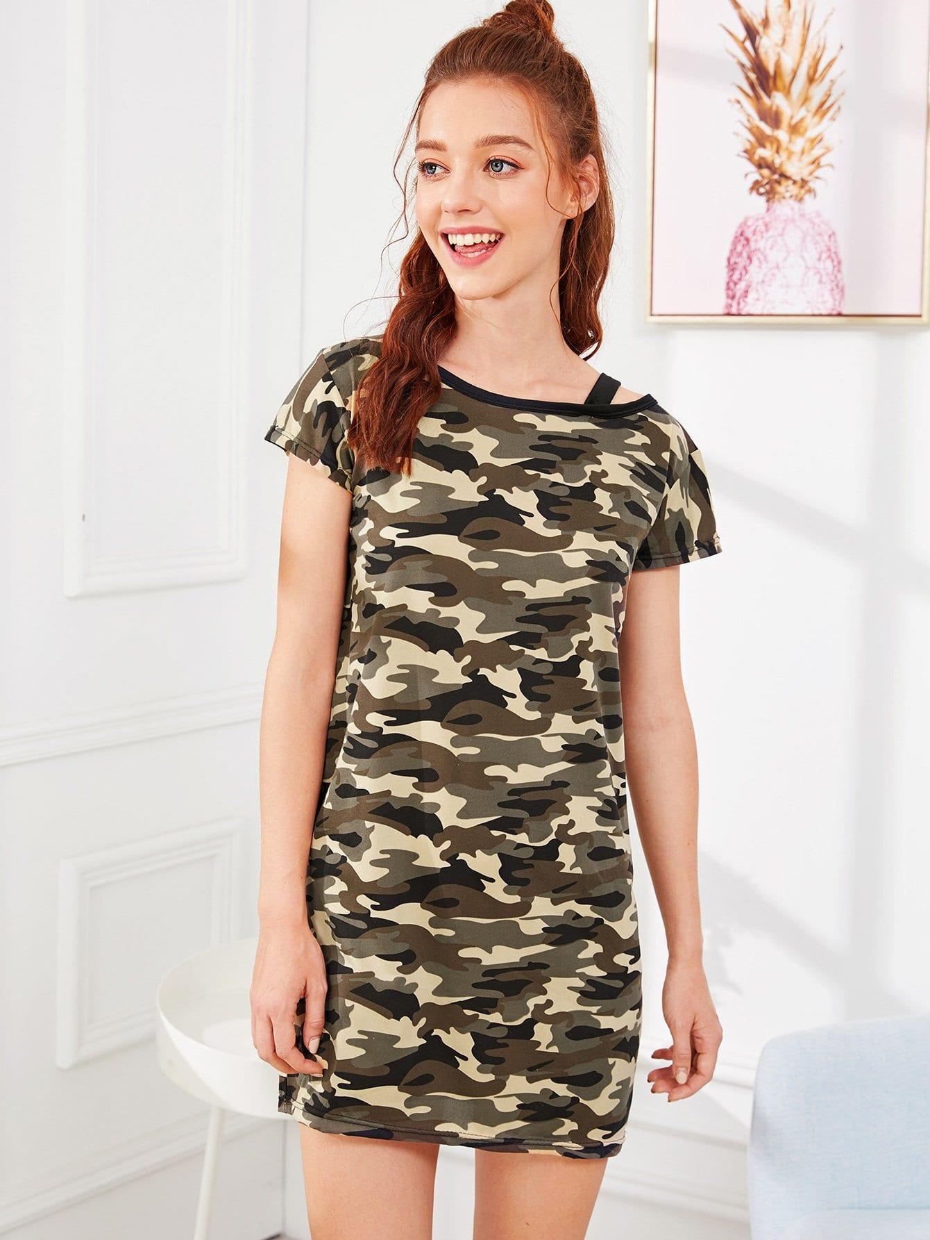 Camo Print Open Shoulder Night Dress camo print night dress