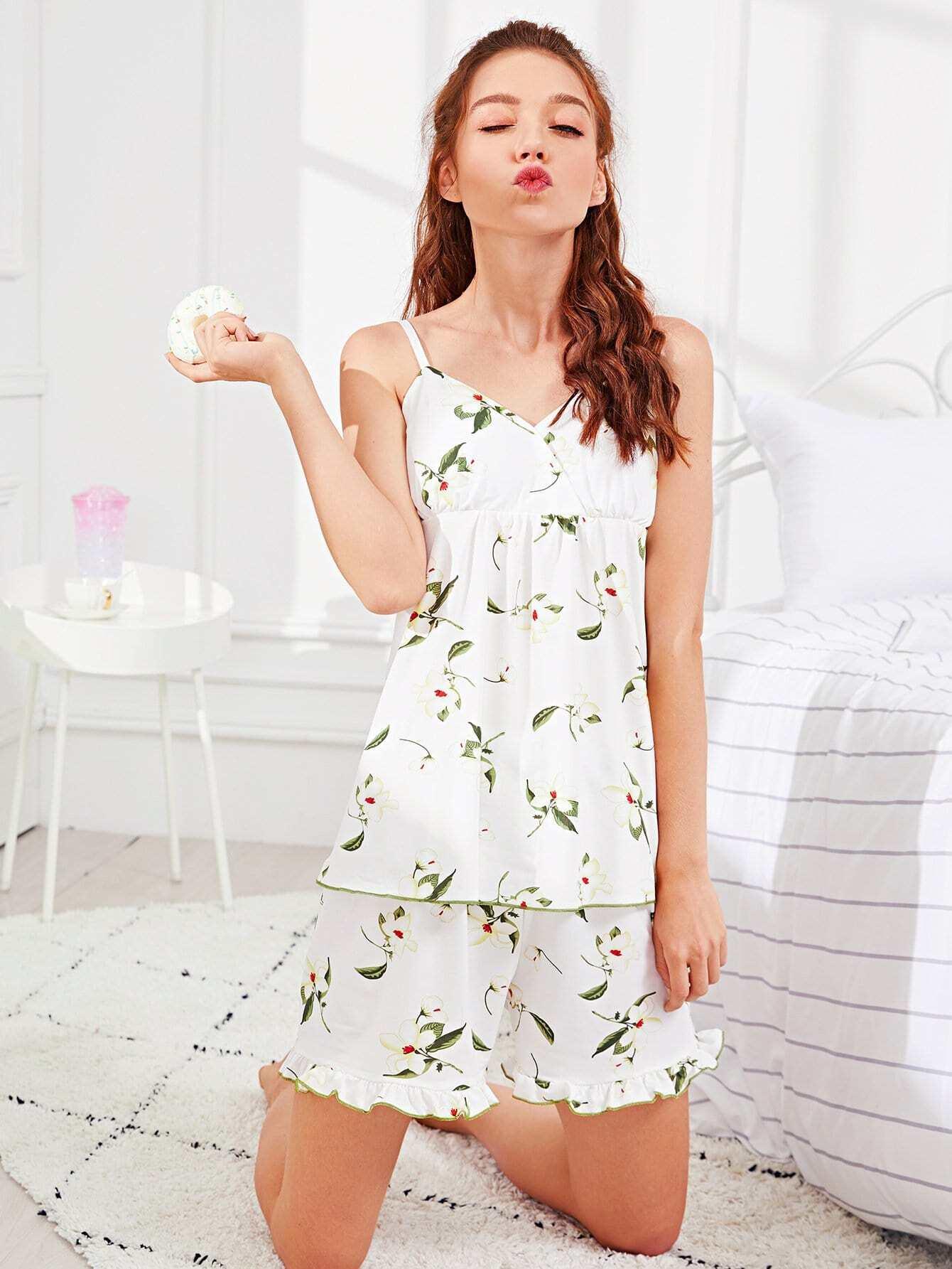 Flower Print Ruffle Hem Cami Pajama Set flower applique mesh cami top and panty pajama set