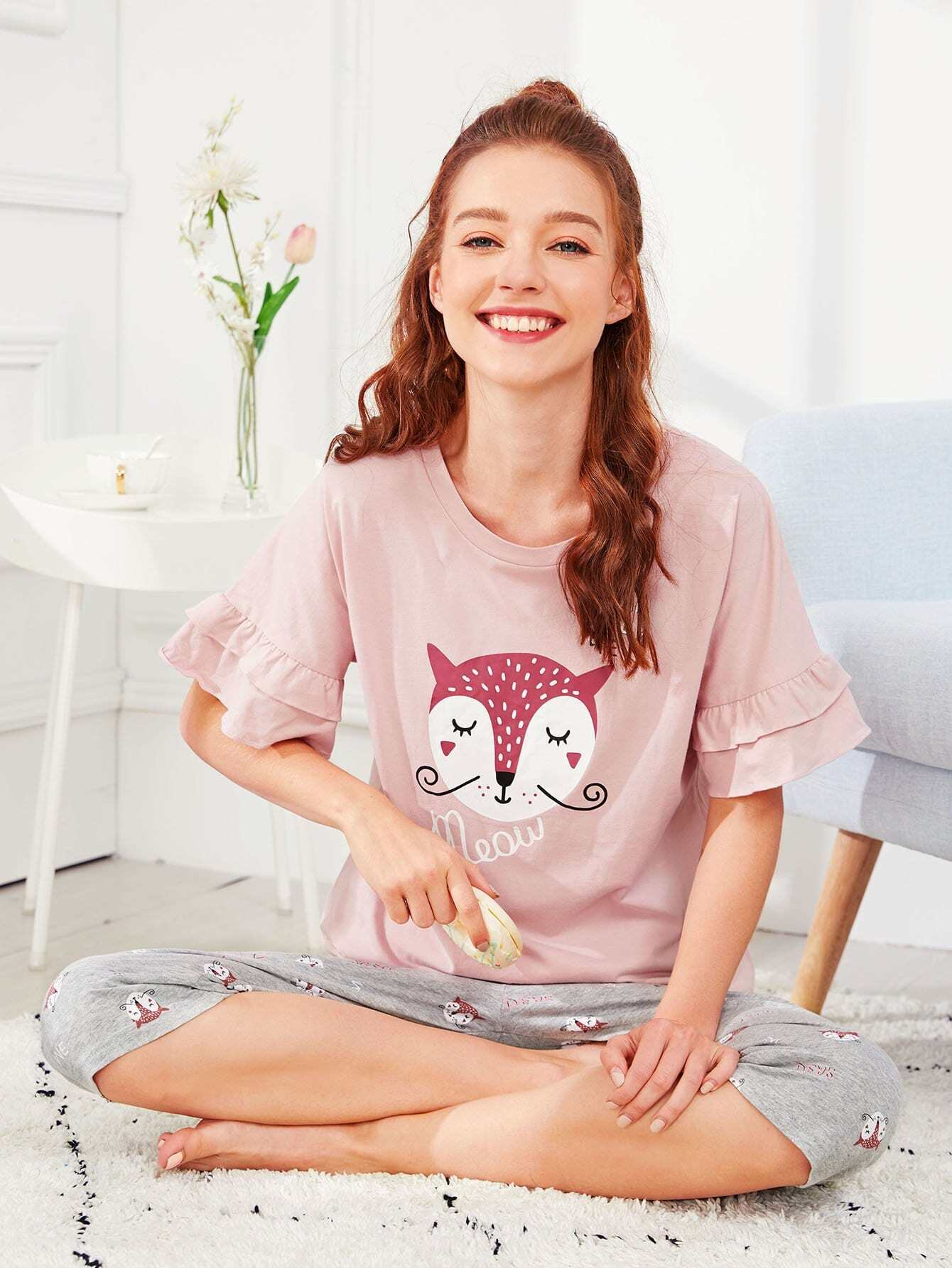 Купить Комплект пижамы с оборками и принтом лисы, Poly, SheIn