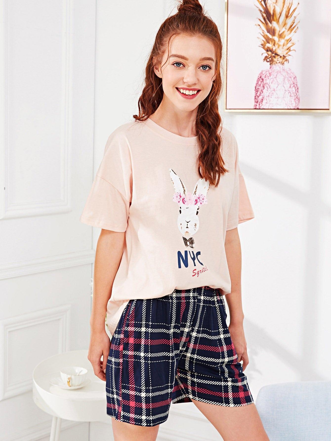Rabbit Print Top & Plaid Shorts PJ Set rabbit print pullover