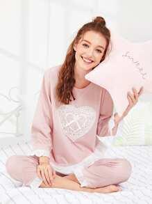 Heart Shaped Lace Ruffle Hem Pajama Set