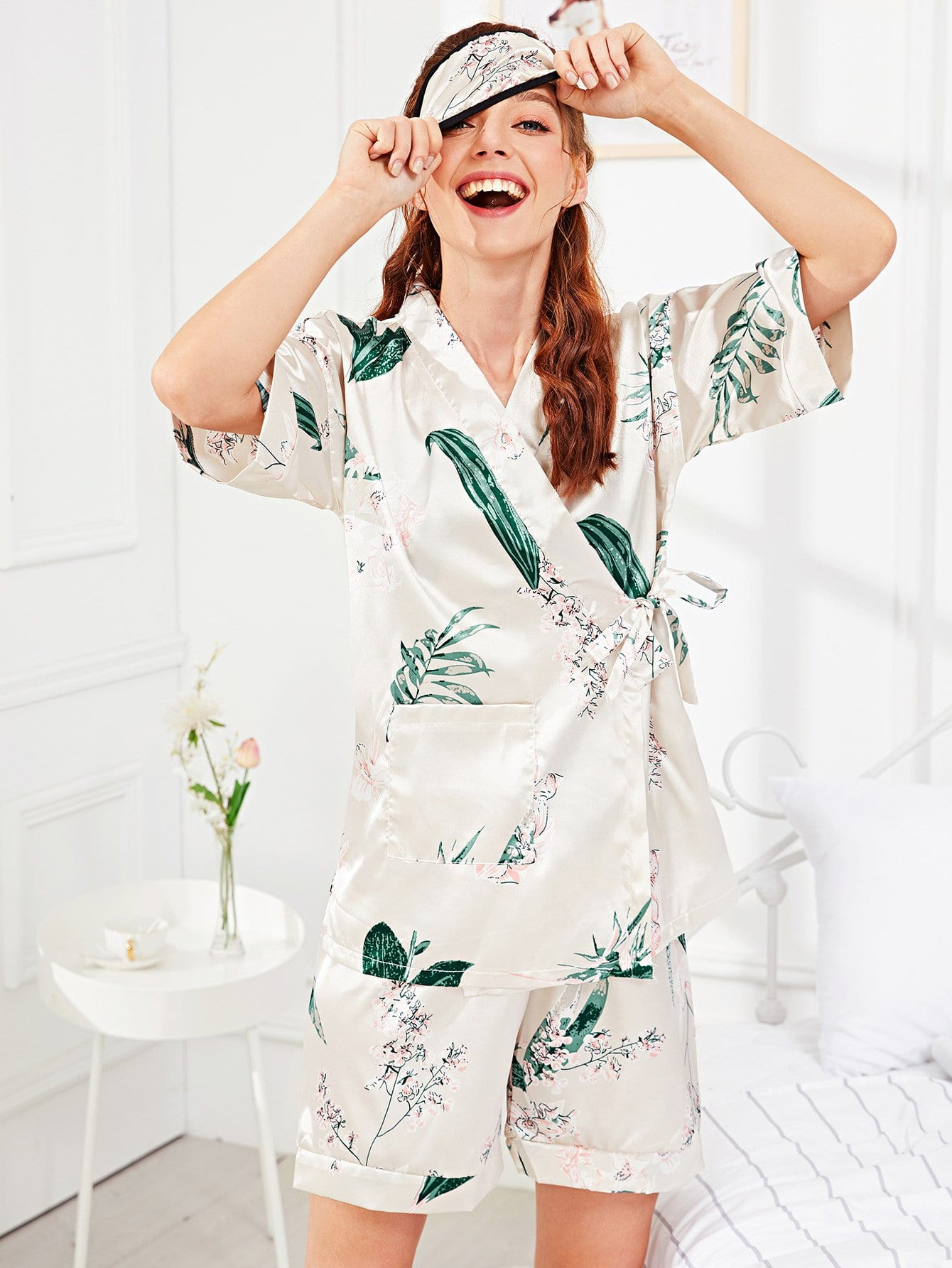 Flower Print Wrap Pajama Set With Eye Mask pineapple print pajama set with eye mask