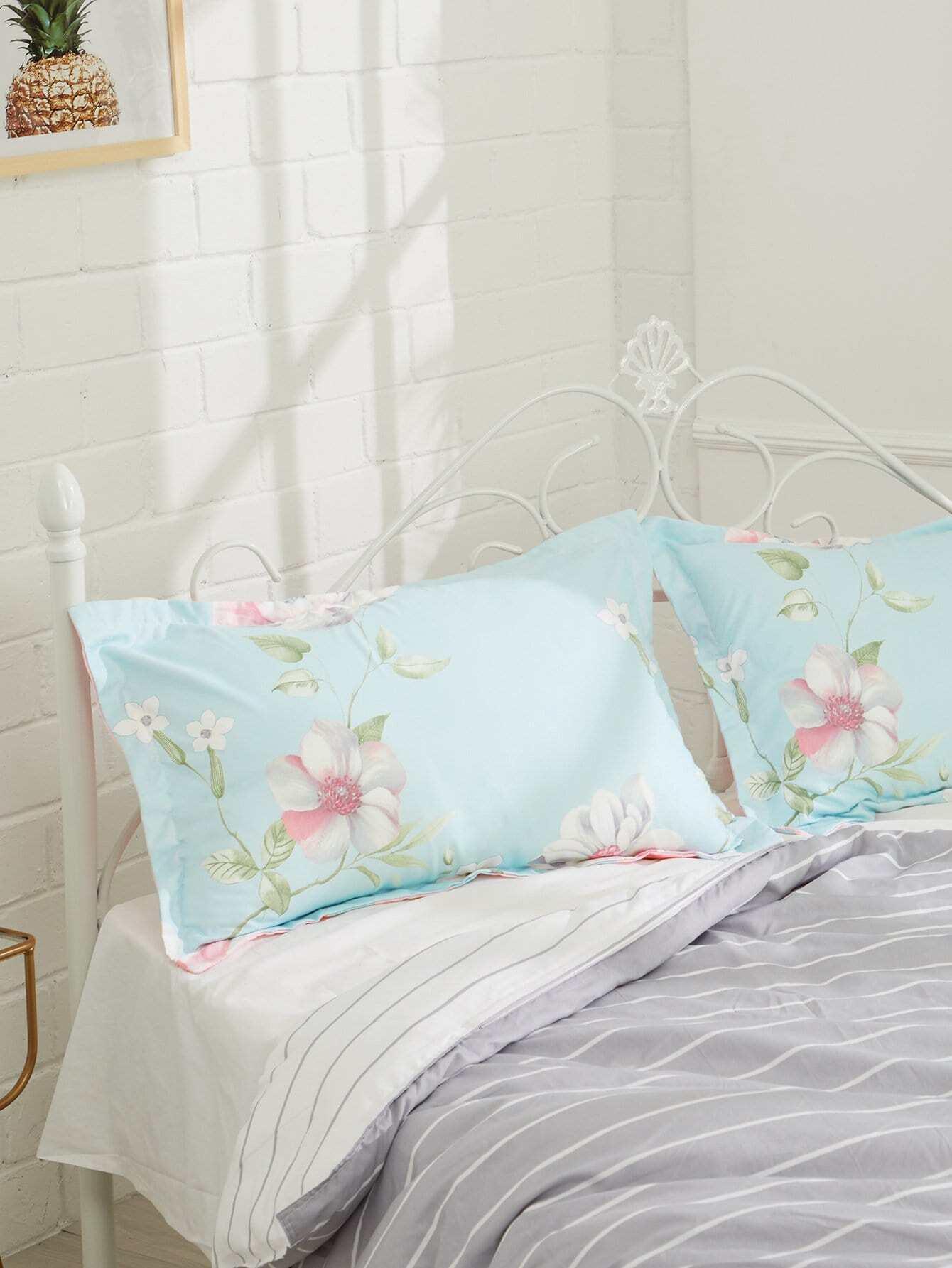 Купить Наволочка для подушки в цветочек 2 шт., null, SheIn