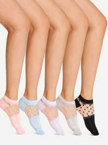 Contrast Mesh Design Ankle Socks 5Pairs