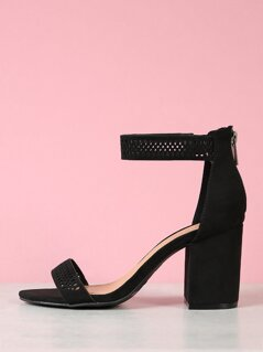 Perforated Ankle Strap Open Toe Block Heels