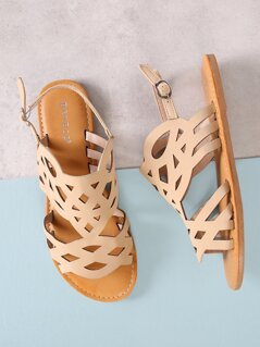 Cut Out Open Toe Flat Sandals