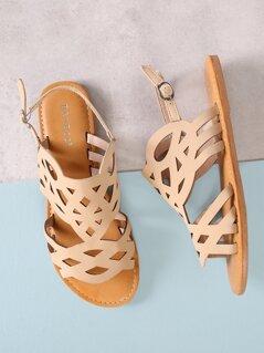 Cut Out Open Toe Flat Sandals