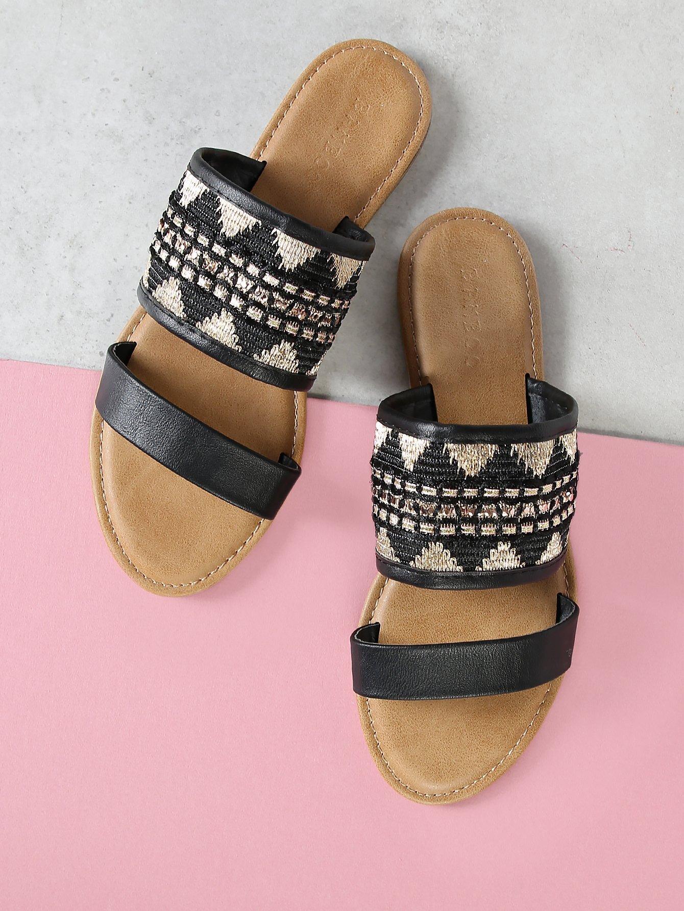 Embroidery Double Band Slide Sandal double band slide sandal black