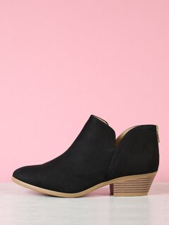 Stacked Block Heel Split Shaft Ankle Boots
