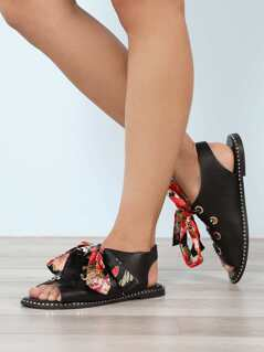 Floral Scarf Tie Lace-Up Flat Sandals