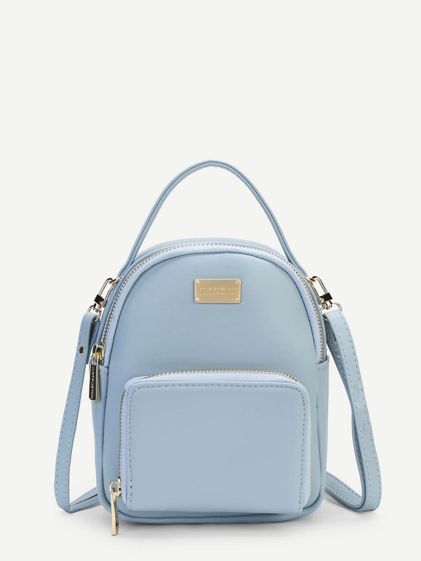Pocket Front PU Backpack double pocket front flap backpack