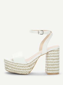 Ankle Strap Block Heeled PU Sandals