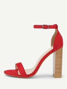 Ankle Strap Cork Heeled Suede Sandals