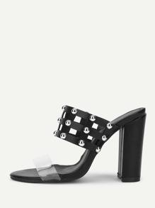 Cut Out Block Heeled PU Heels