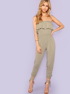 Strapless Ruffle Jumpsuit with Ankle Wrap Detail