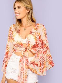Sheer Tropical Print Angel Sleeve Blouse