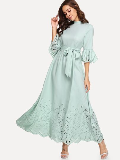 e190f041f6e4 Scalloped Laser Cut Self Belted Maxi Dress
