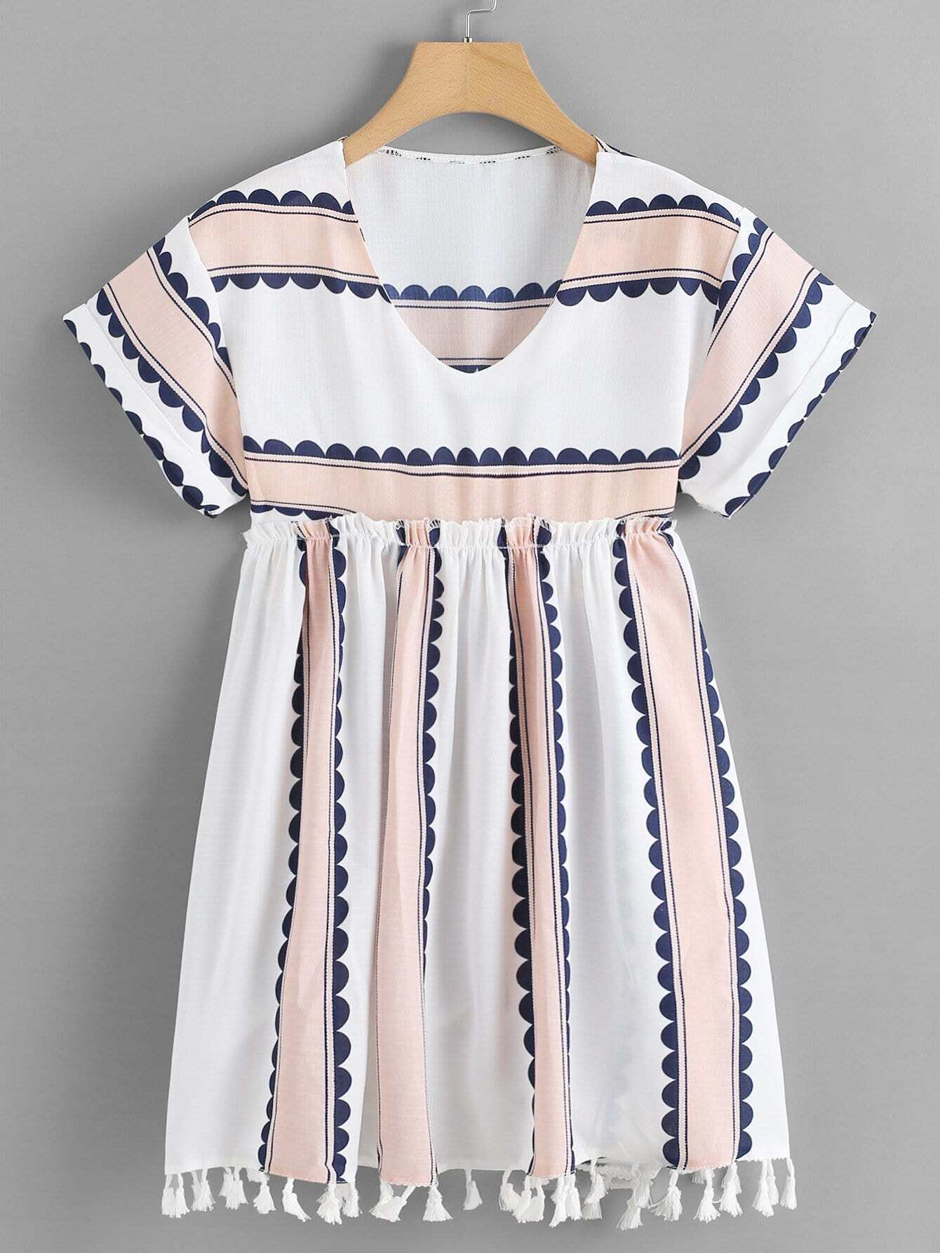 Fringe Hem Frill Trim Striped Dress цена