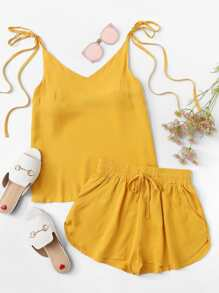 Knot Shoulder Top With Shorts