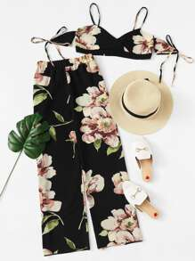 Floral Print Cami With Pants