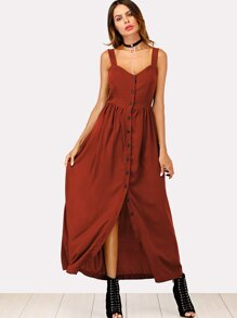 Solid Button Through Cami Dress