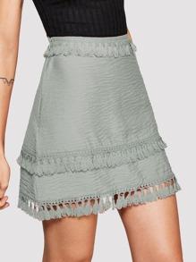 Fringe Trim Zip-Up Side Skirt