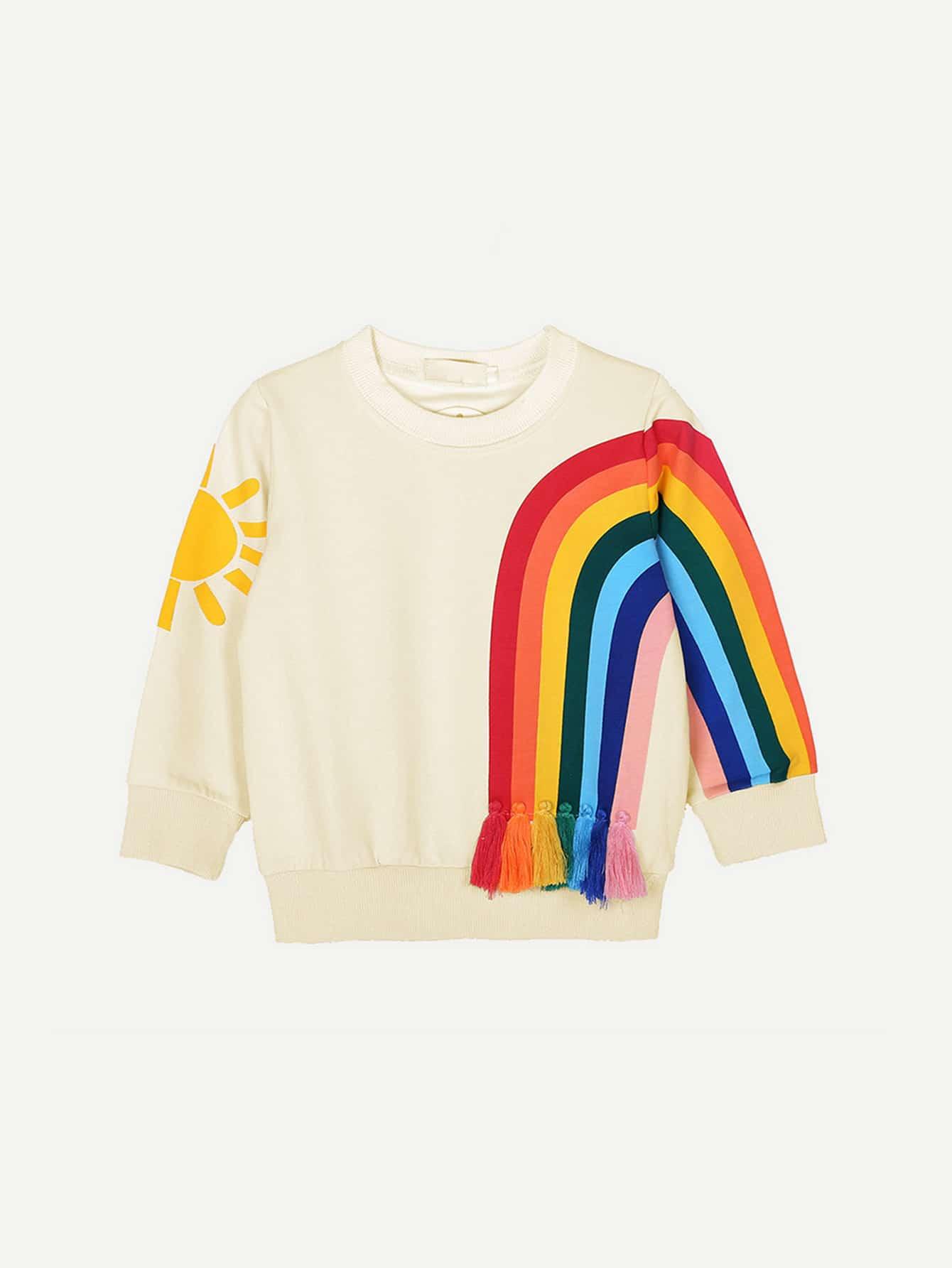 Толстовка для детей Rainbow Print, null, SheIn  - купить со скидкой