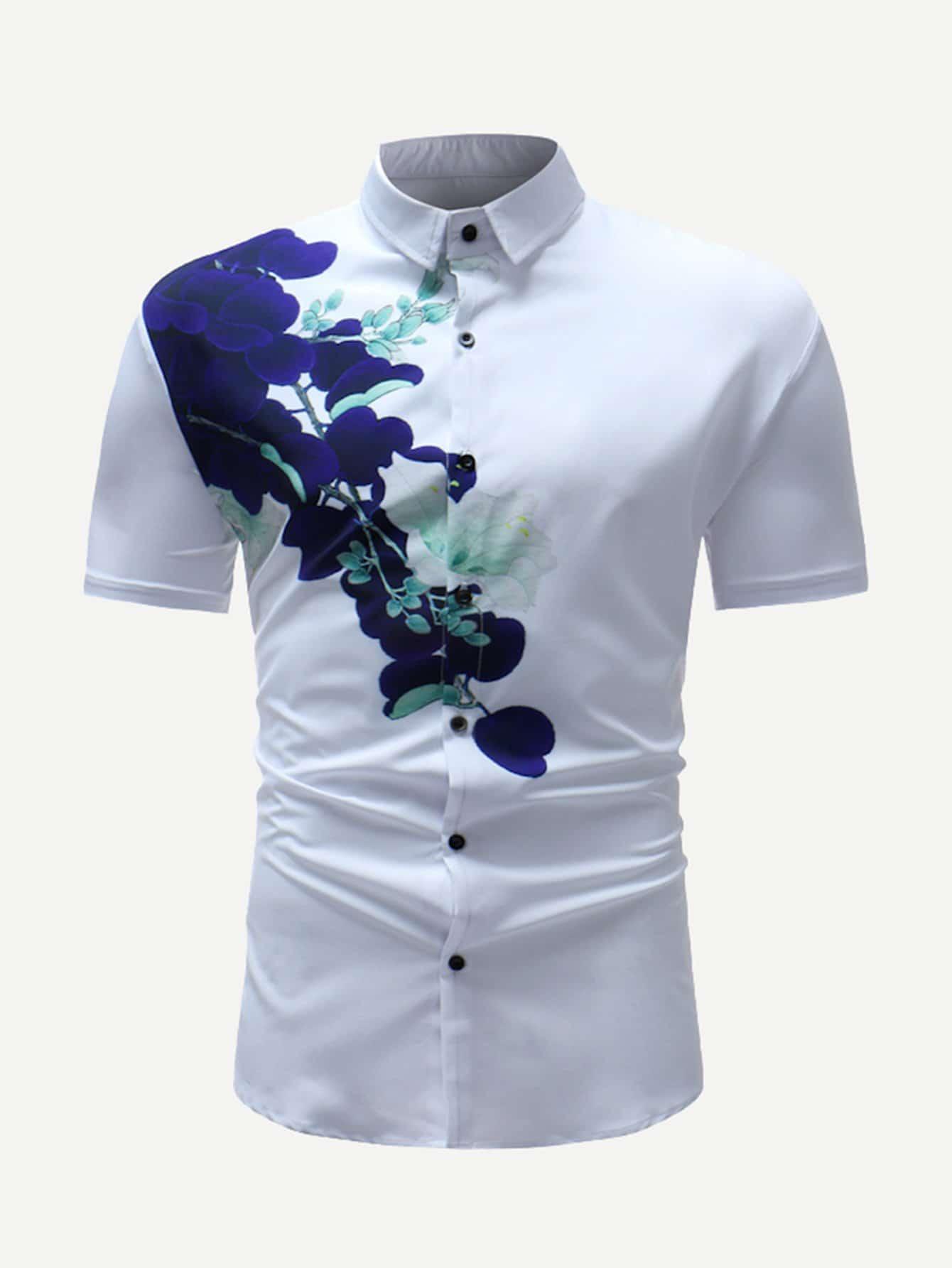 Men Lilac Flowers Print Blouse все цены