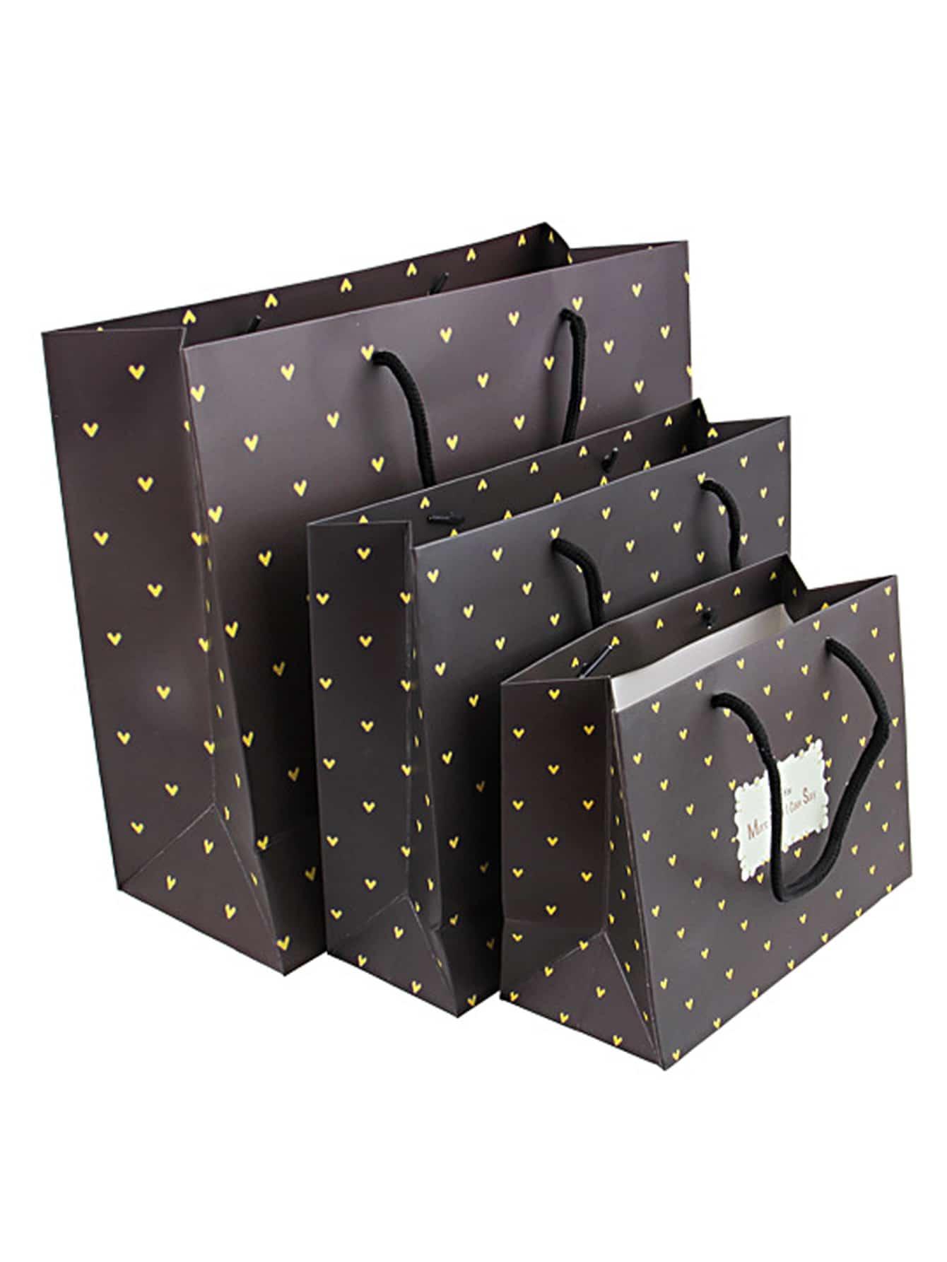Heart Overlay Print Paper Bag 3pcs