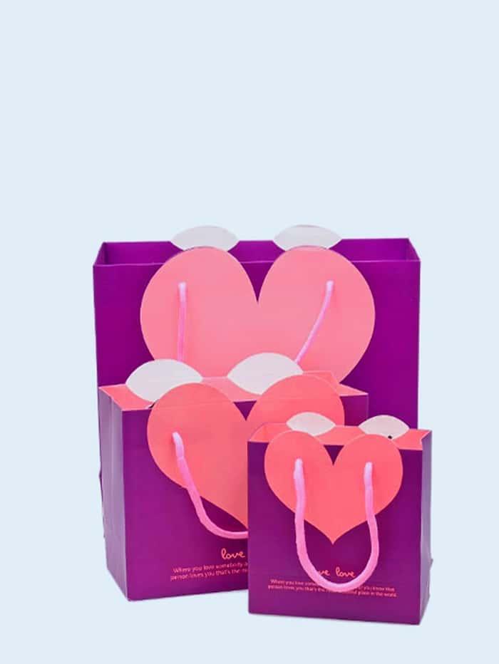 Contrast Heart Paper Bag 3pcs