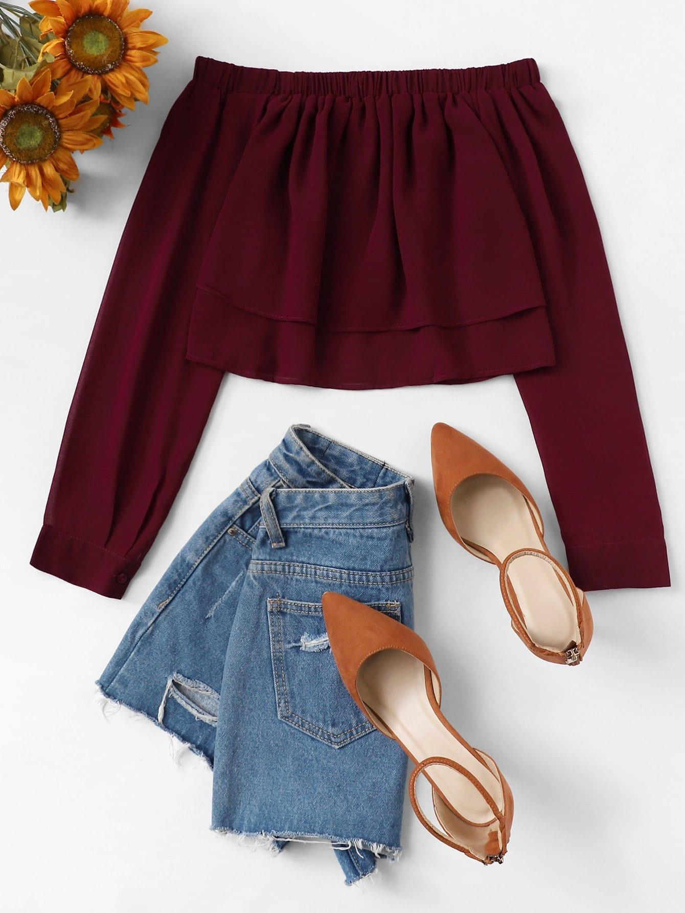 Купить Повседневный Одноцветный Бордовый Блузы+рубашки, null, SheIn