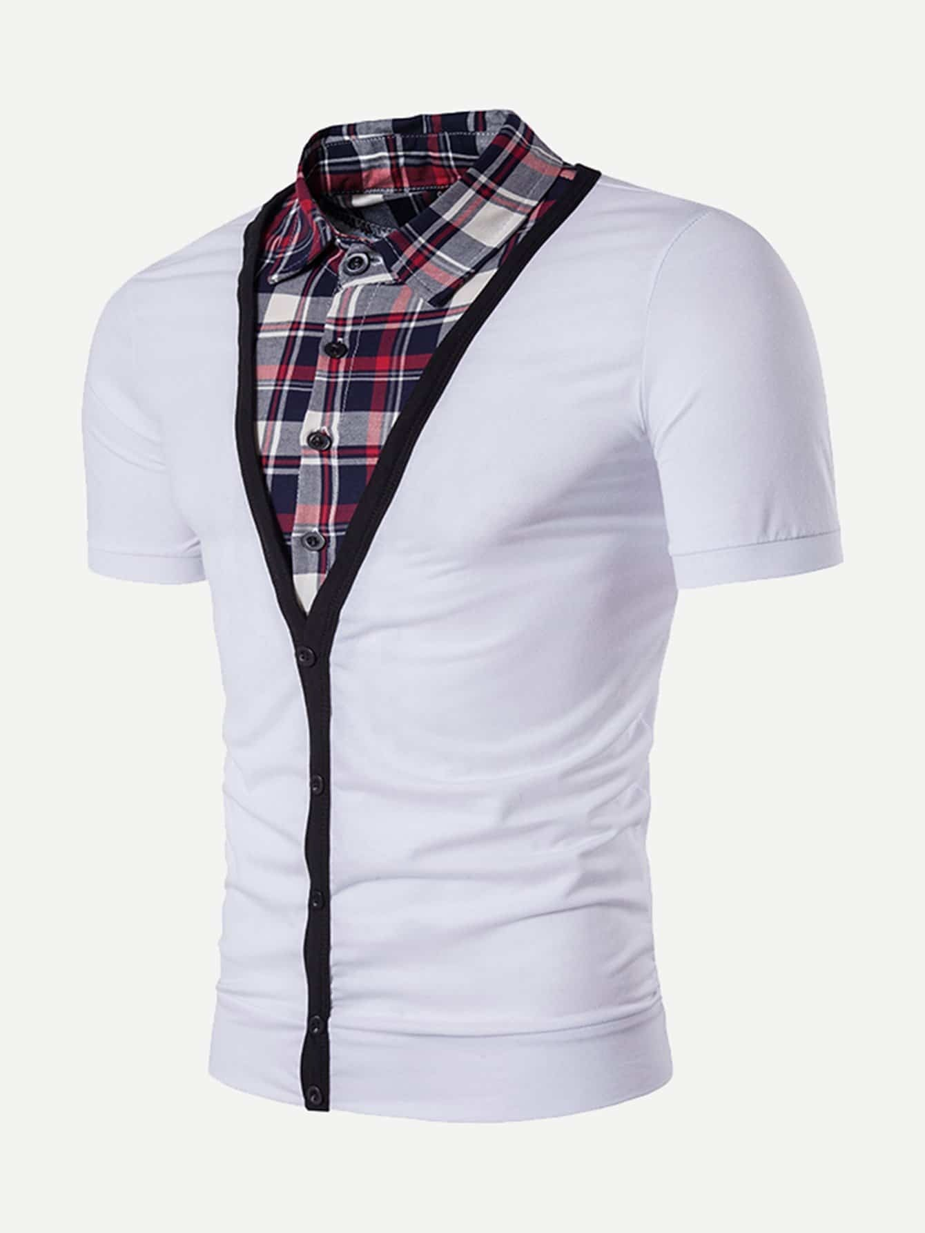 Men Plain Contrast 2 In 1 Polo Shirt murder in plain english