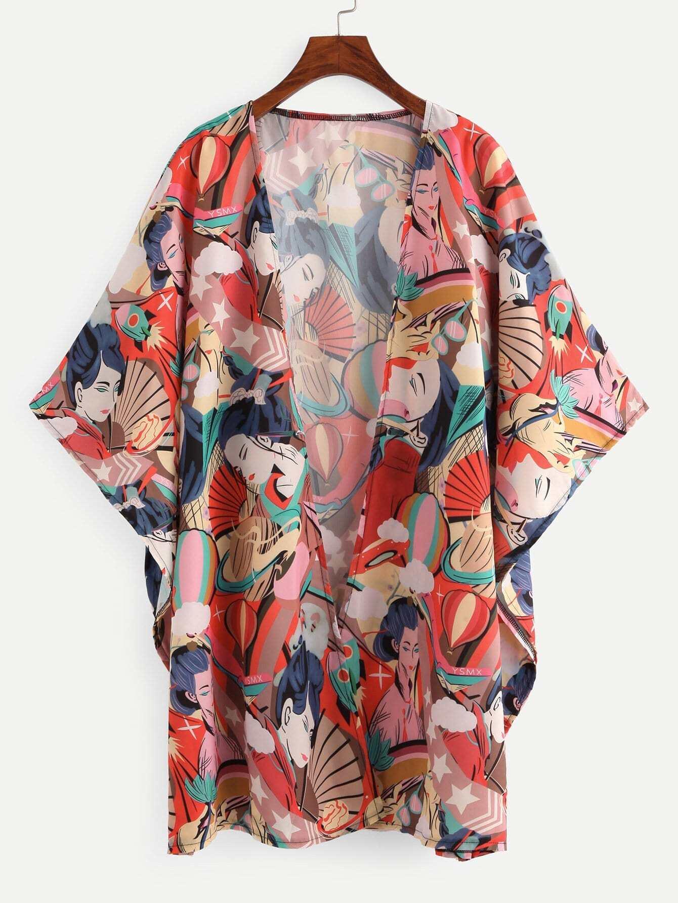 Kimono mit Abbildungmuster und offener Vorderseite