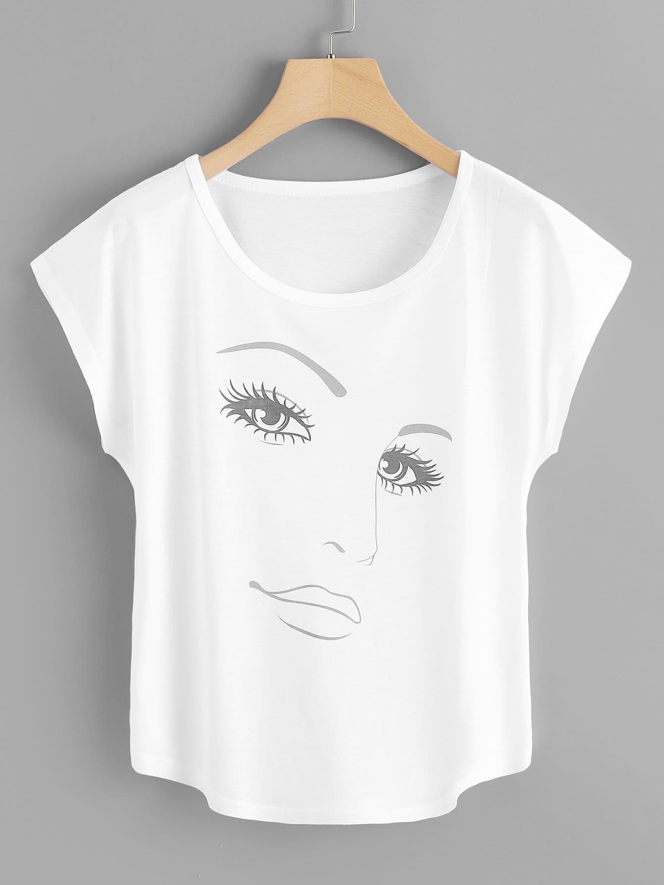 T-Shirt mit Abbildungmuster