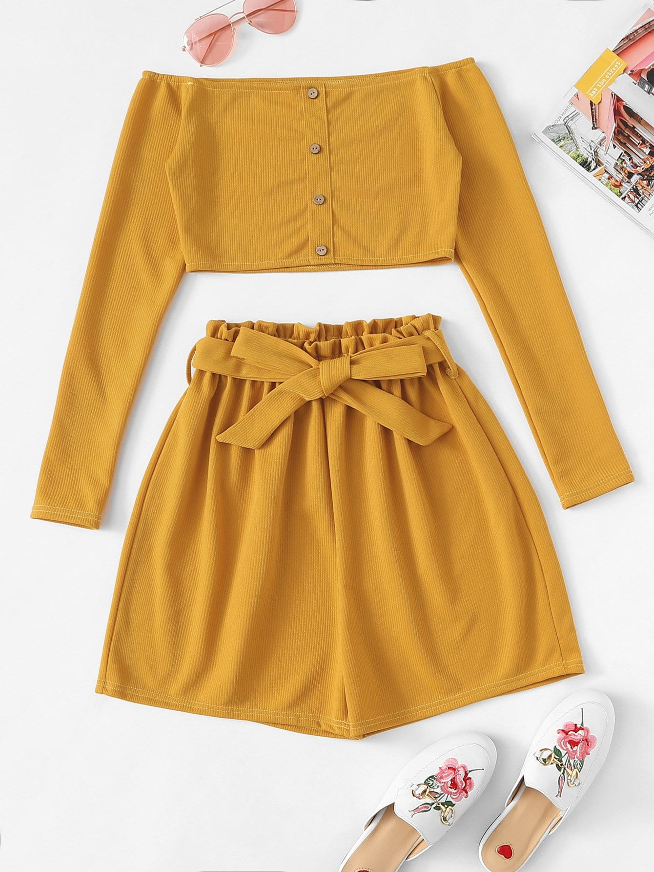 Off The Shoulder Button Frill Belted Two-piece Outfit
