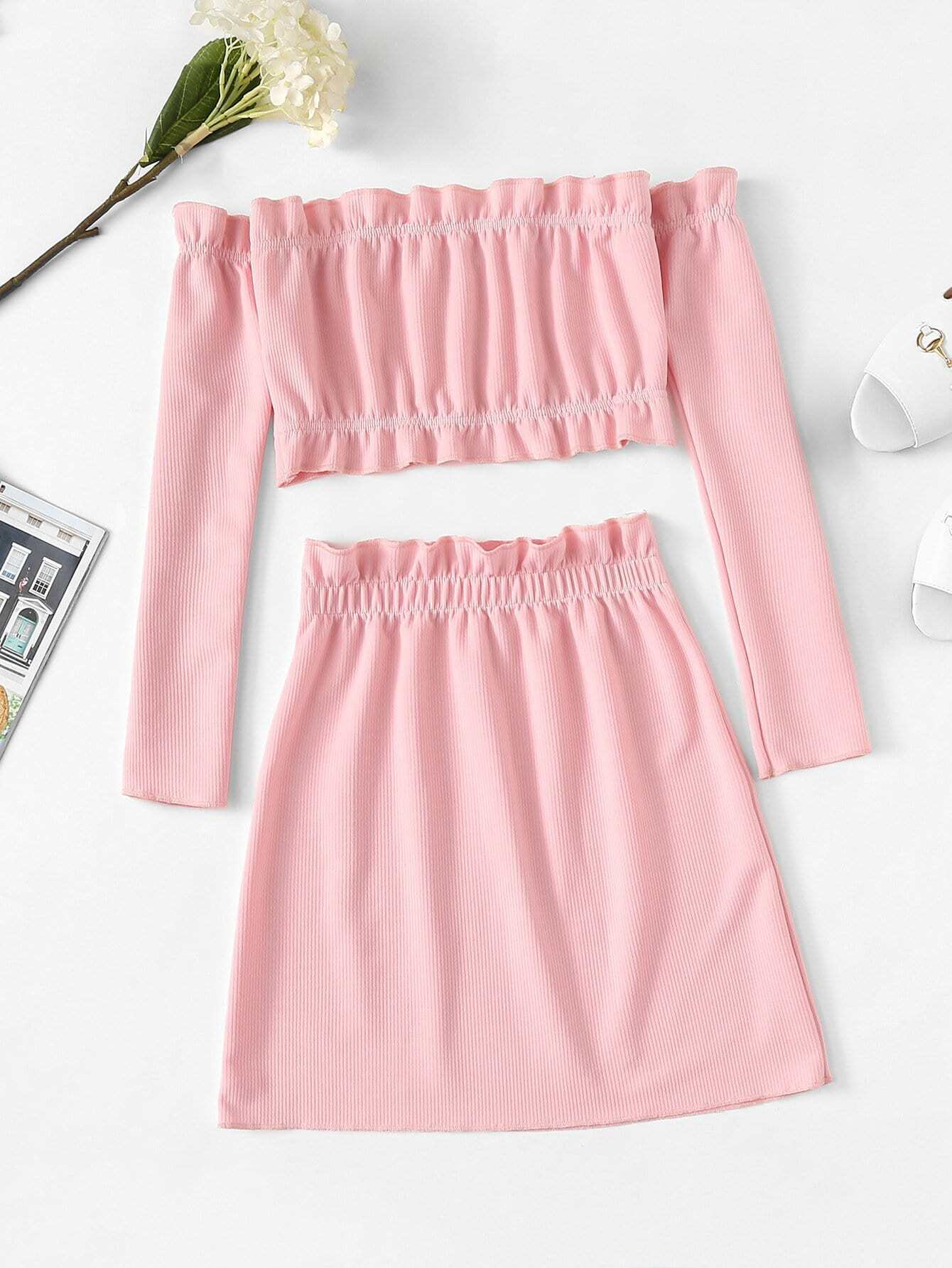 Frill Trim Off The Shoulder Two-piece Outfit