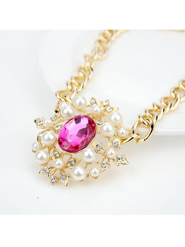 Imitation Gemstone Chains Choker Necklace
