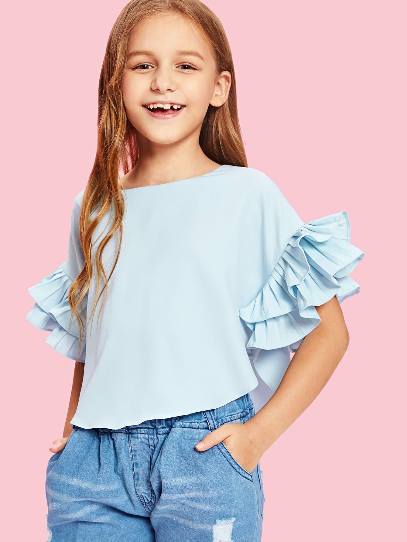 Купить Изогнутая рукавная рубашка с длинными рукавами, null, SheIn