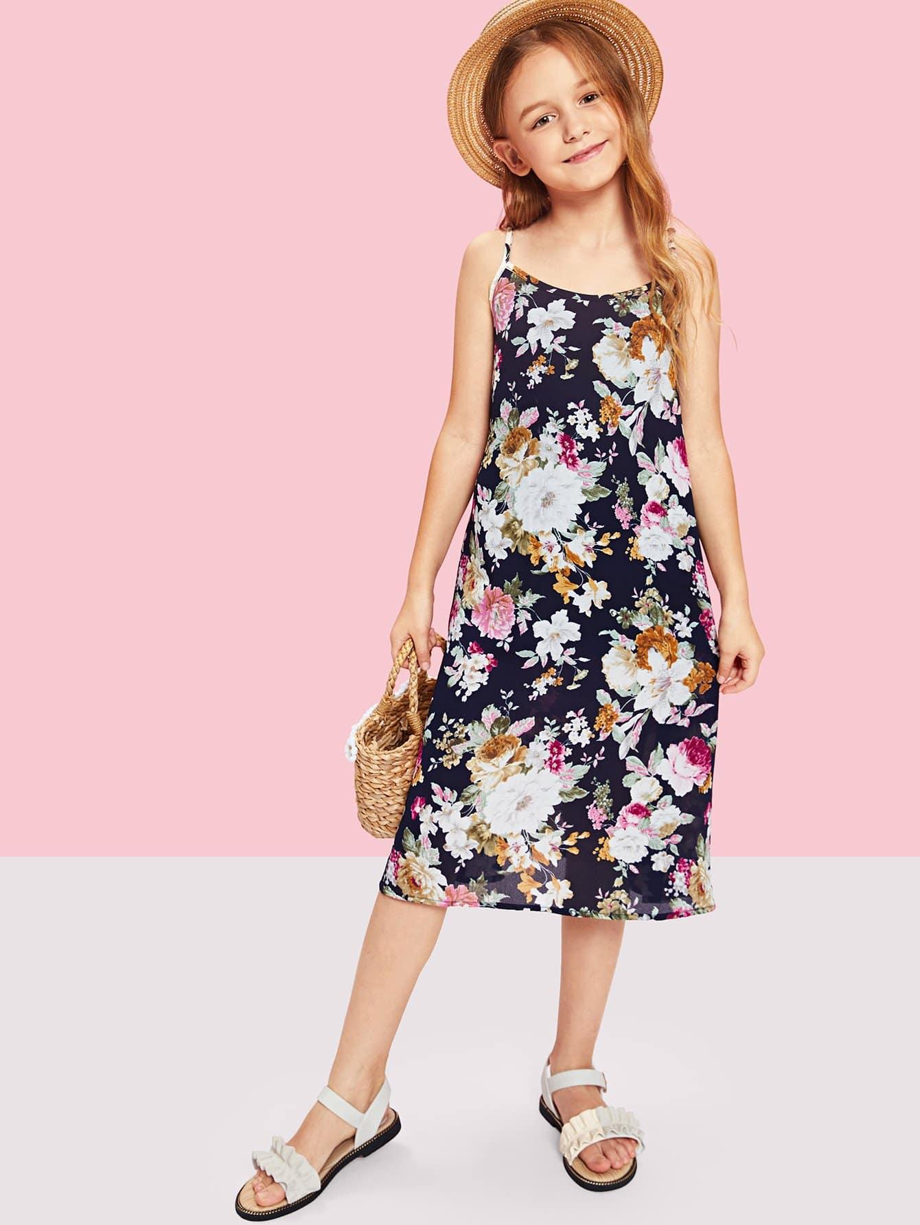 Купить Allover Flower Print Ками платье, null, SheIn