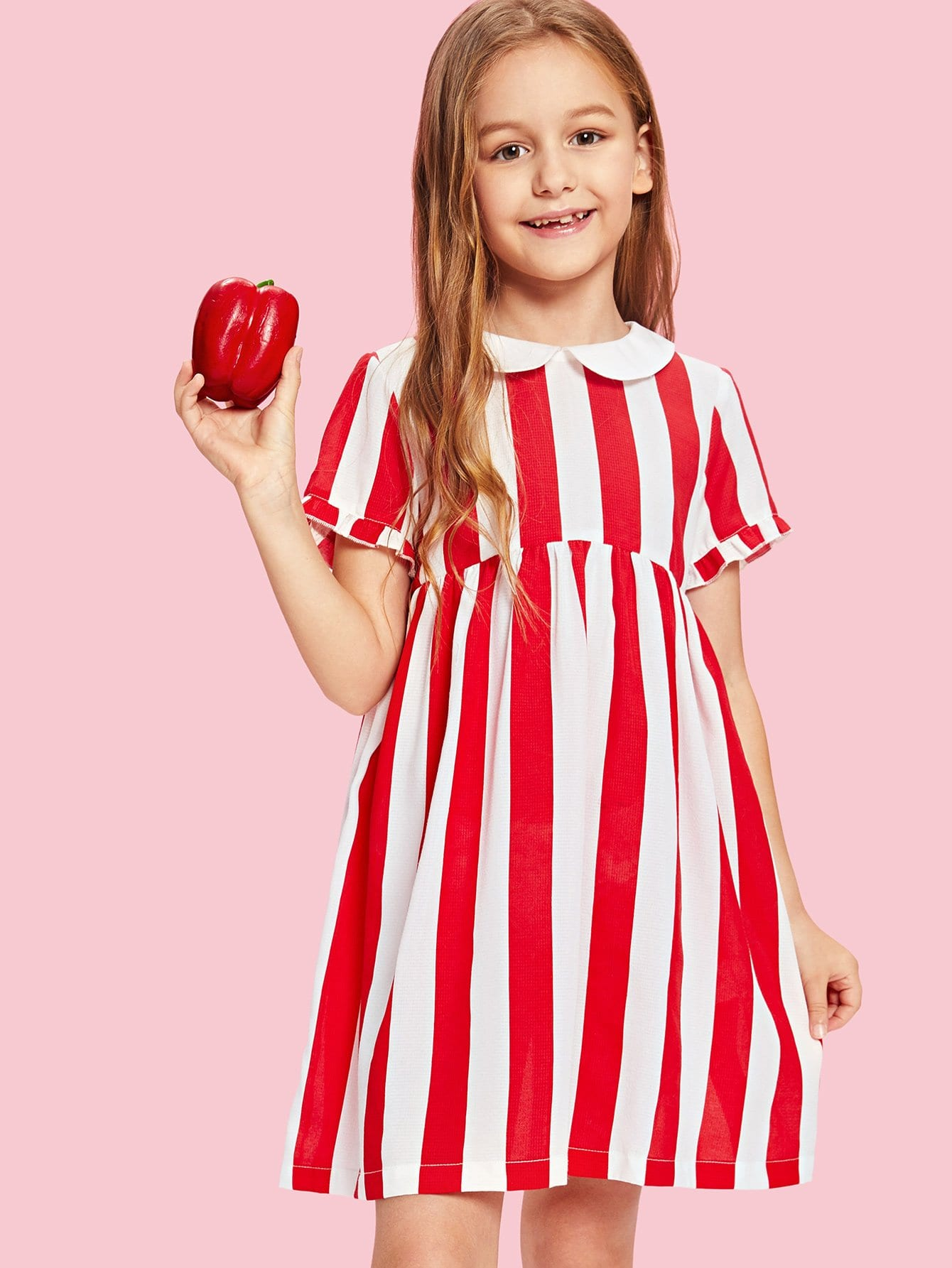 Girls Frilled Cuff Button Half Placket Back Striped Dress half placket striped smock shirt dress